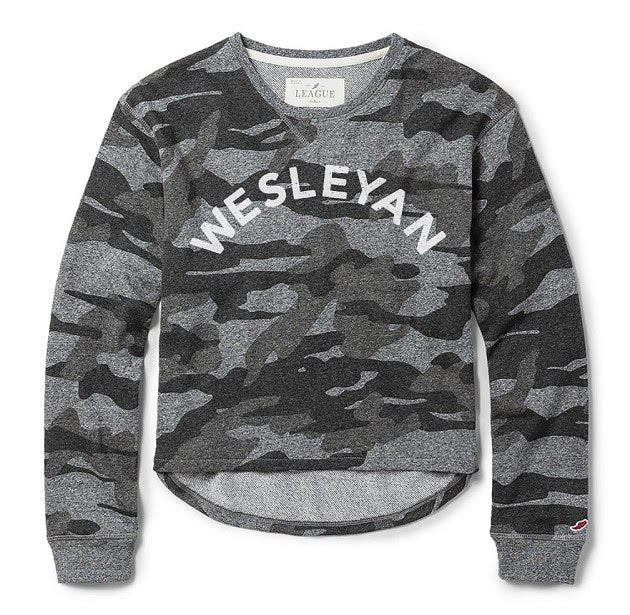 League womens camo sweatshirt/short set