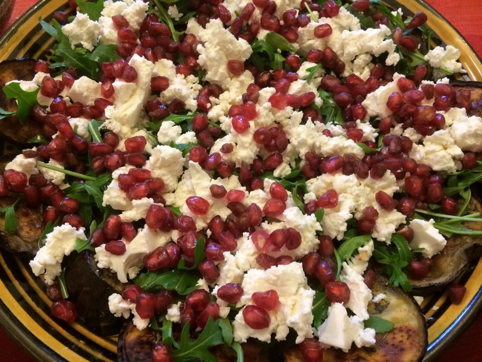 Grilled Aubergine and Pomegranate Salad