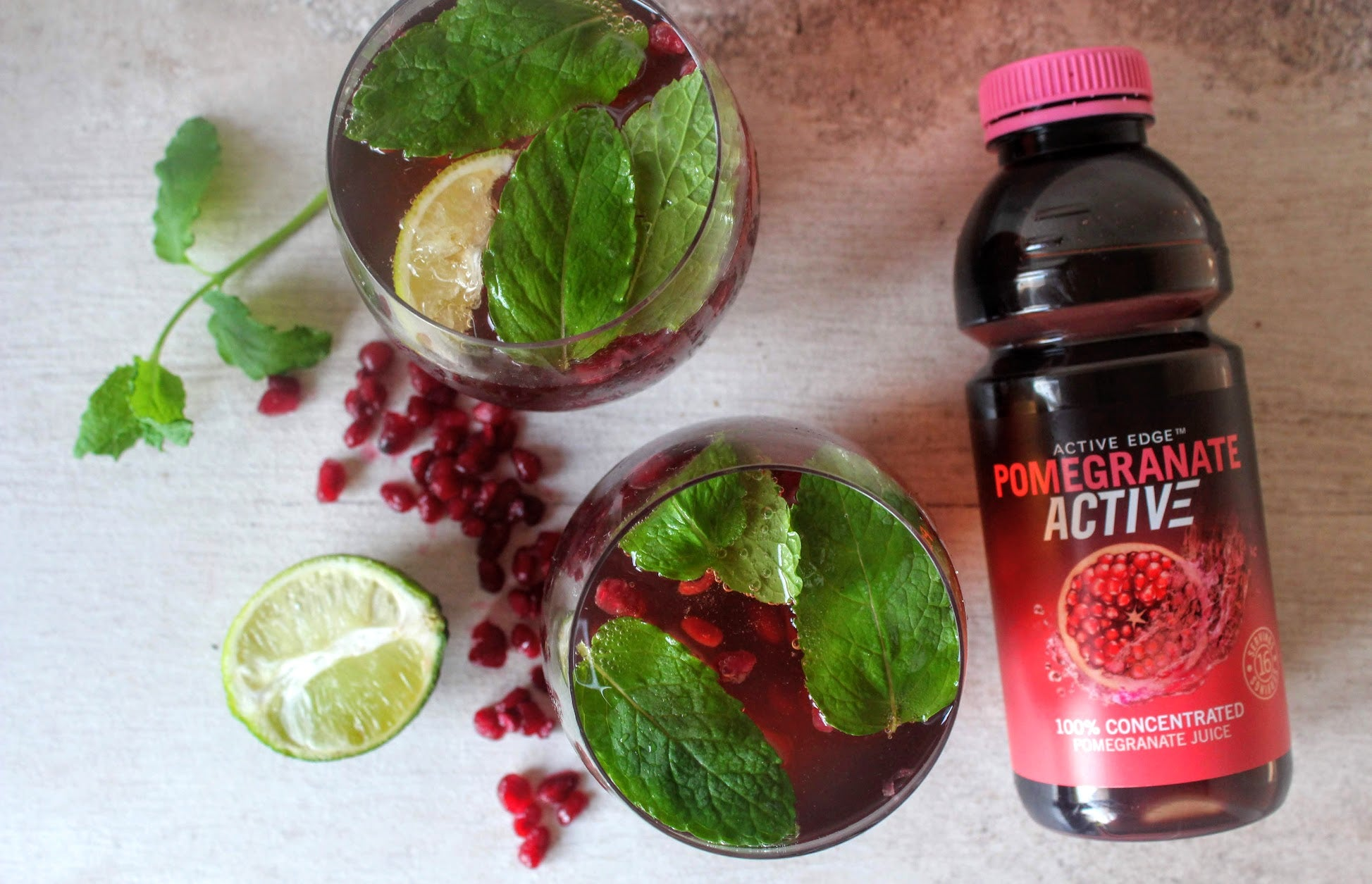 Minty Pomegranate Ginger Fizz