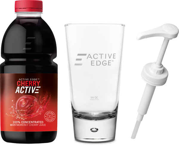 "CherryActive ""Starter Pack"" - 1 x 946ml Cherry, 1 x Branded Active Edge Glass and 1 x Hand Pump for 946ml Bottle"