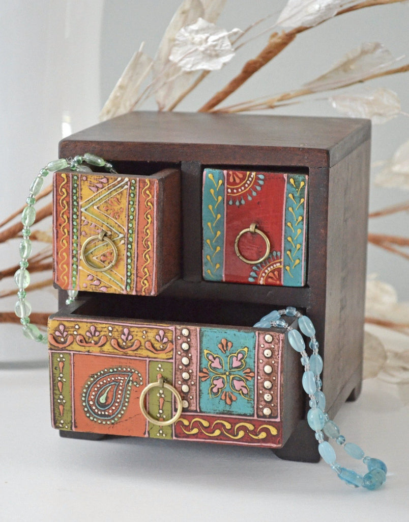 Hand painted wooden 3 drawer chest decorative box for Bandejas de madera