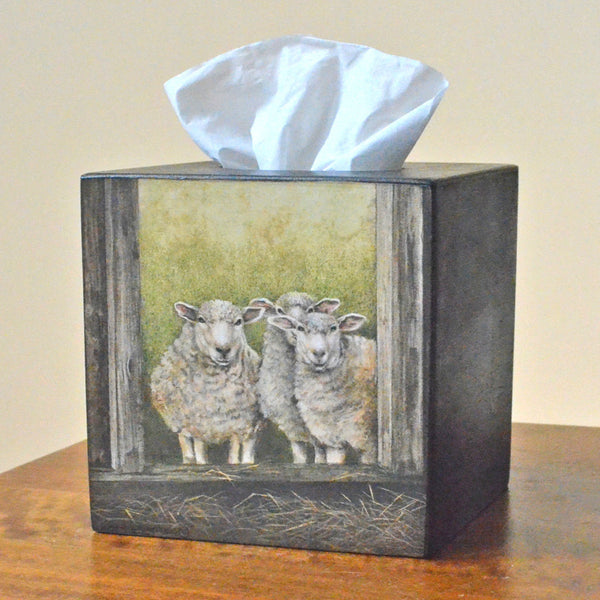 3 Sheep Tissue Box Cover, handcrafted wooden folk art sheep