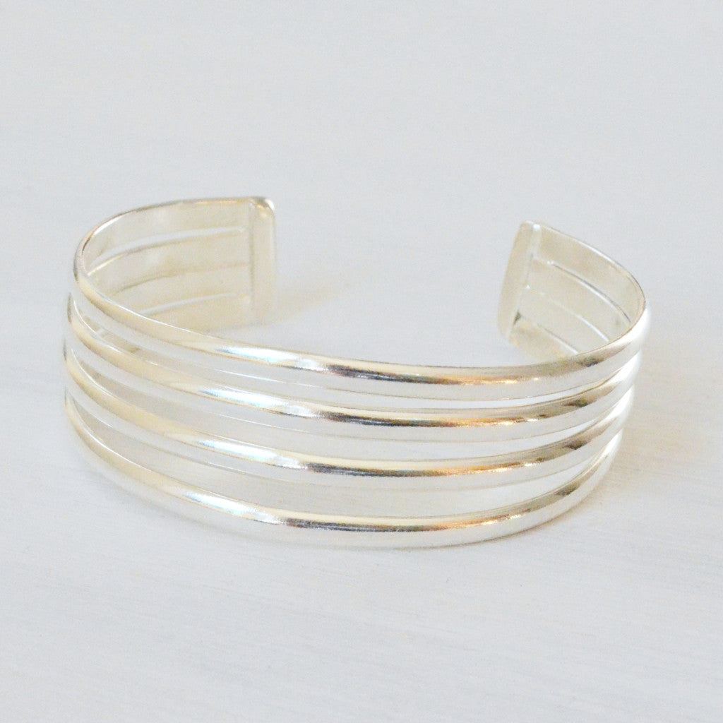 4 Bar Cuff Silver Bracelet Handcrafted In Mexico