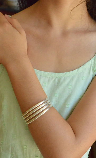 4 Bar Cuff Silver Bracelet Handcrafted In Mexico on Model
