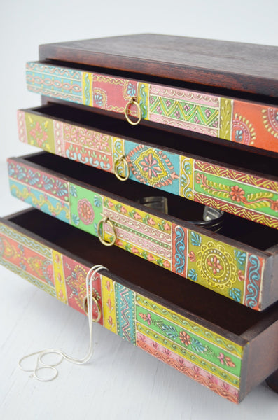 4 drawer hand painted chest, drawers hold jewelry or desk items