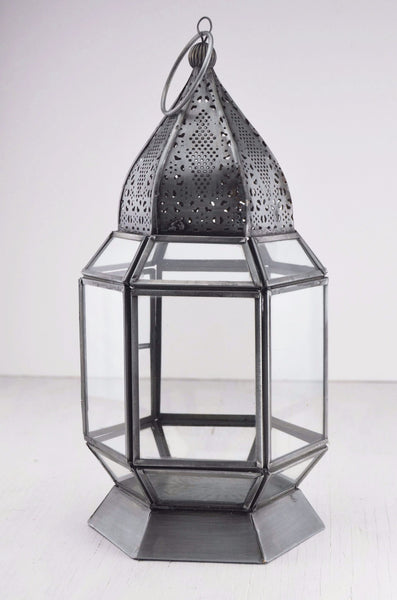 Antique finish moroccan style glass lantern