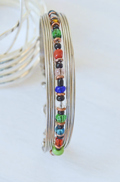 Multi Colored Beaded Wire Bracelet Handcrafted in Kenya