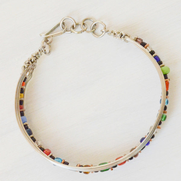 Multi Colored Beaded Wire Bracelet Top View
