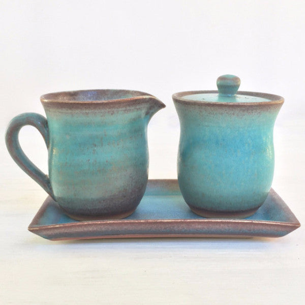 cream and sugar set, blue creamer and sugar bowl, ceramic gift set