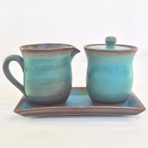 Blue Glazed Cream and Sugar Set