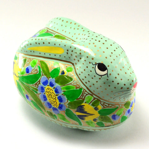 Rabbit Trinket Box, decorative box, hand painted paper mache