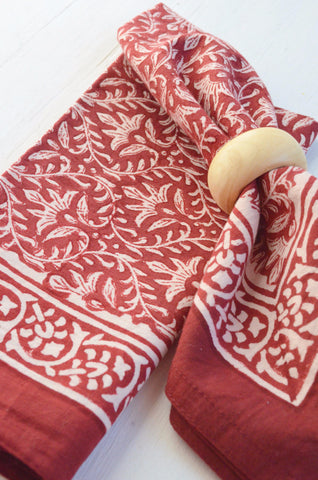 red and white block printed napkin and ring gift set