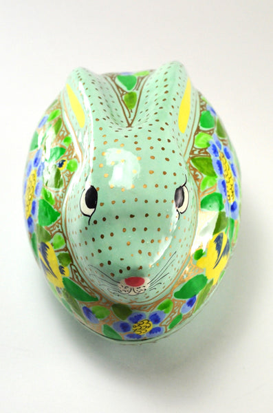 Rabbit Trinket Box, decorative box, hand painted paper mache, top view