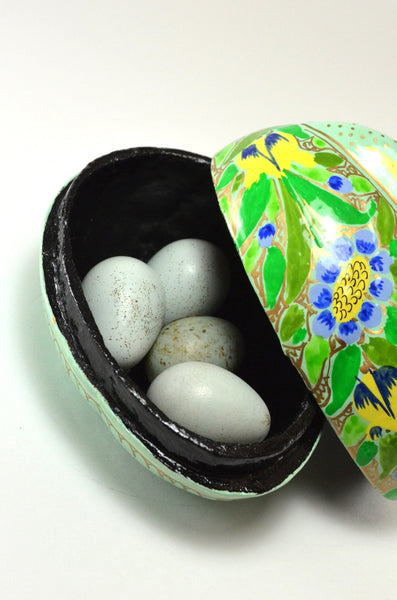 Rabbit Trinket Box, decorative box, hand painted paper mache, holding eggs