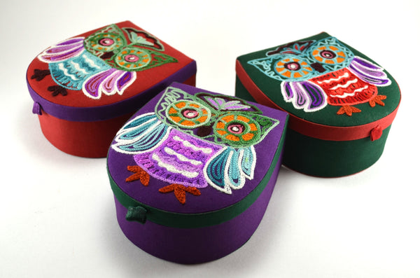 Crewel Embroidery Owl Box | owl gifts, 3 variants shown