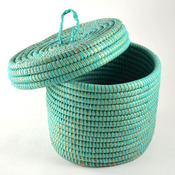 Storage Baskets aqua decorative basket with lid
