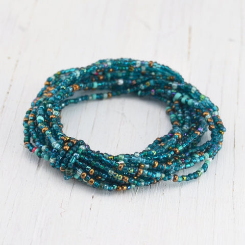 teal glass beaded bracelet, fair trade, multi-strand