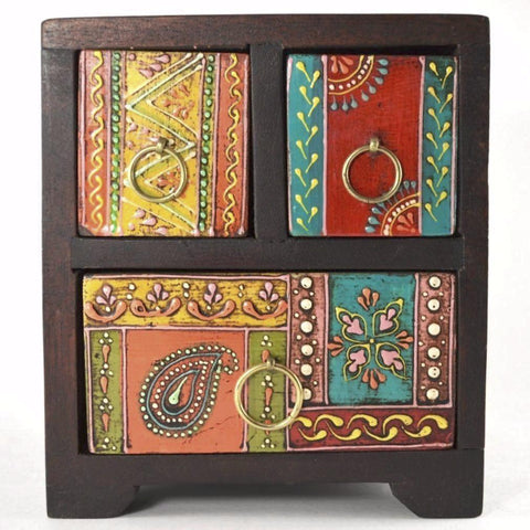 3 Drawer Chest, hand-painted wooden box with drawers