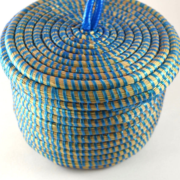 Storage Baskets blue decorative basket with lid