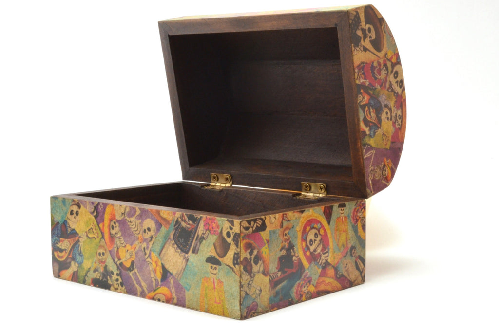 Day Of The Dead Decoupage Chest Handcrafted Wooden Box