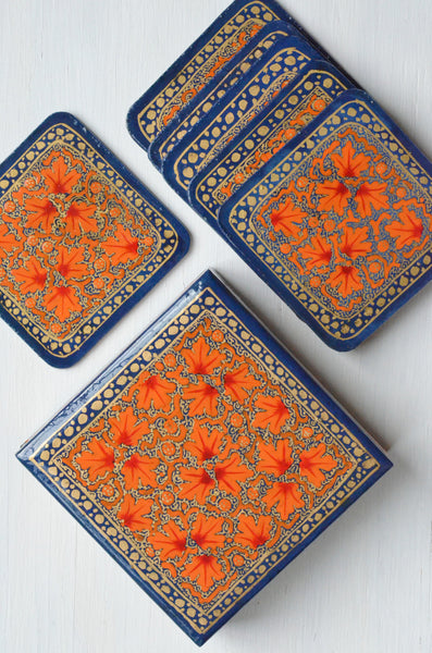 hand painted coasters,set of coasters in a box, orange paper mache shown