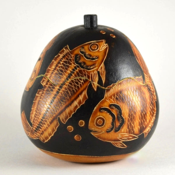 Fish Gourd Box from Peru | Handcrafted Box, Fair Trade | Unique Gift