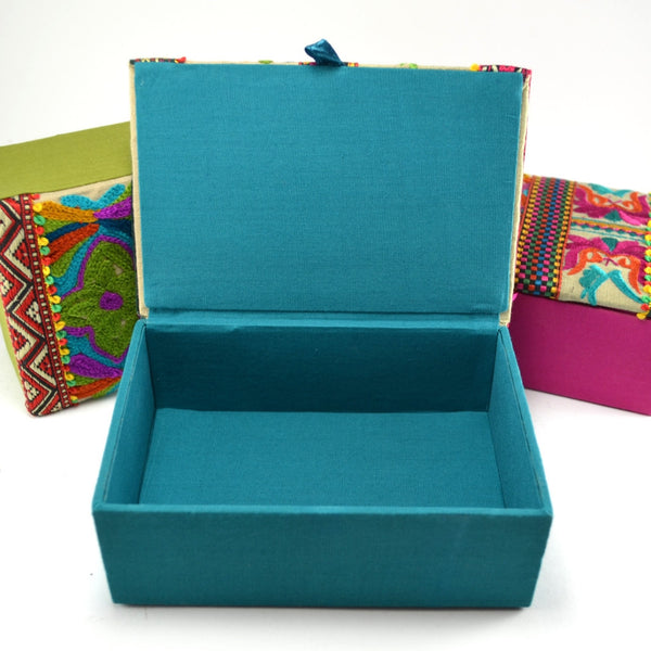 Embroidered Top Box, Handcrafted Box, Unique Gift, Fair Trade