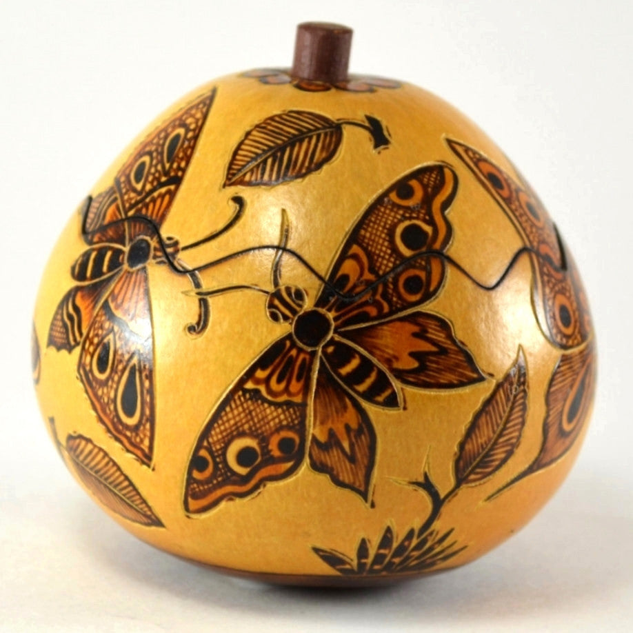 Butterfly Gourd Box From Peru | Handcrafted Box, Unique Gift