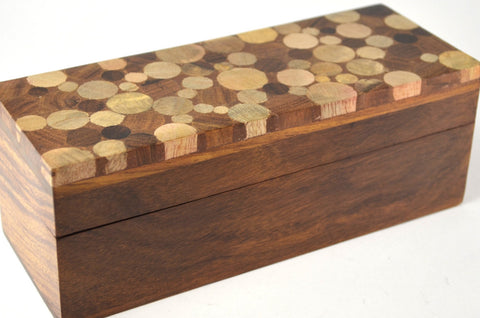 handcrafted sheesham pencil box with inlaid mango wood top