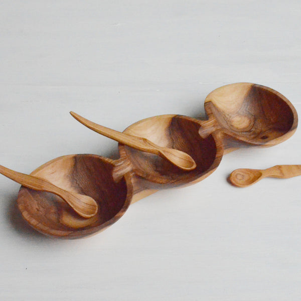 Handcrafted Olive Wood Triple Bowl and Spoon Gift Set