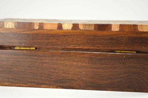 indian rosewood hinged pencil box, detail of hinges shown