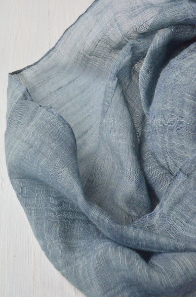 detail of Slate Blue Infinity Scarf handwoven from linen and silk