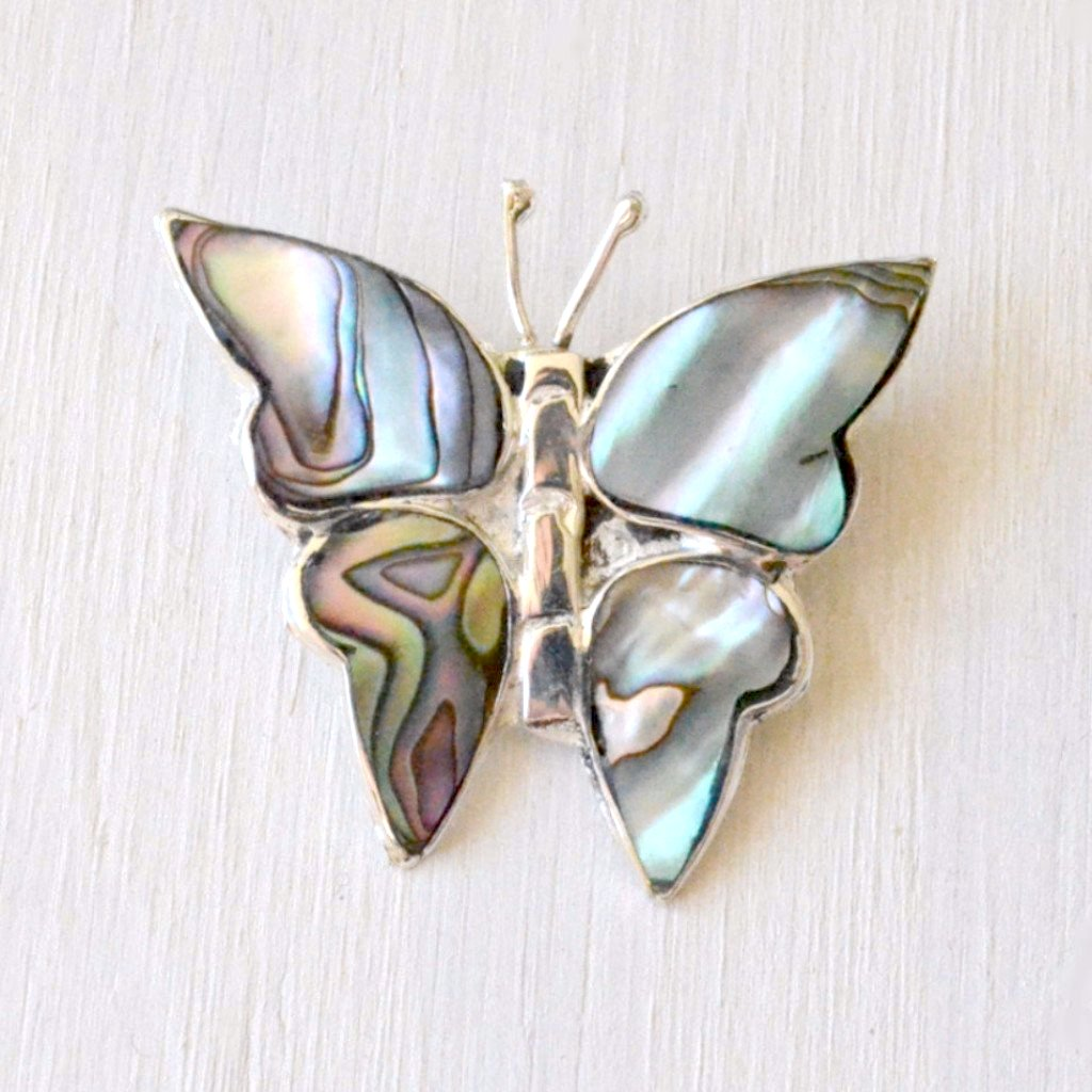 Mother of Pearl and Silver Butterfly Pin Handcrafted in Mexico
