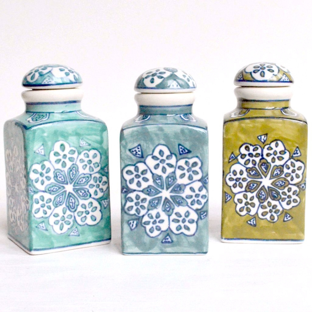 Hand Painted Ceramic Jars Set of 3 Gift Set