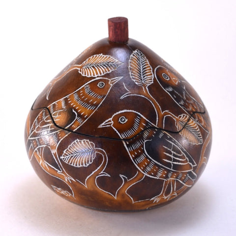 peruvian gourd art, gourd box, handcrafted with brown birds