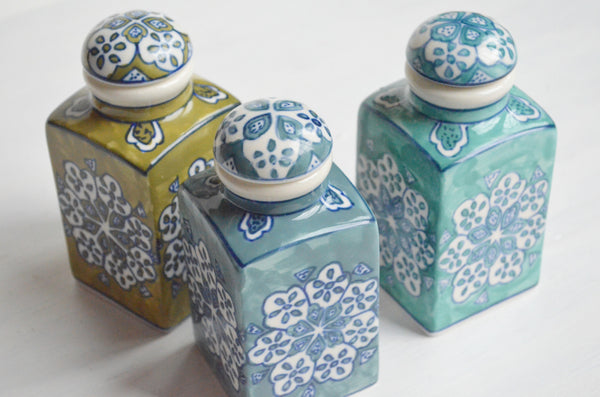 Hand Painted Ceramic Jars Set of 3 Gift Set Top View