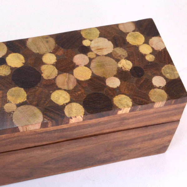 rosewood pencil box, detail of mango wood inlaid top