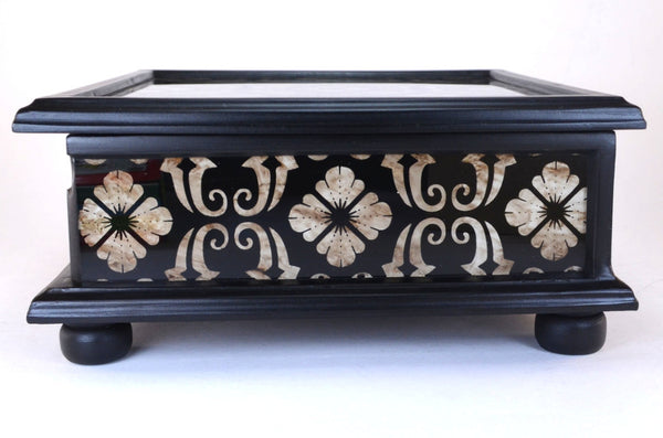 hand painted black and white glass box
