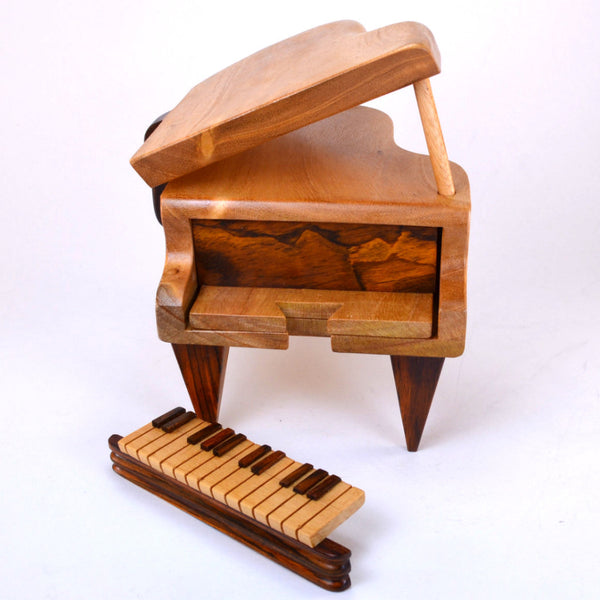 puzzle box | handcrafted, wooden piano box, front view