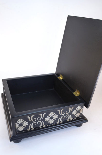 black and white keepsake box - open view