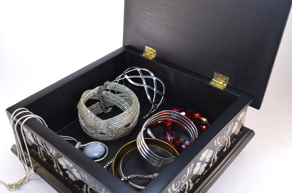 black jewelry box - painted glass box