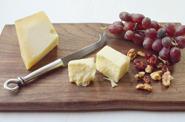 Walnut Wood Cheese Board Pewter Knife Gift Set with Food