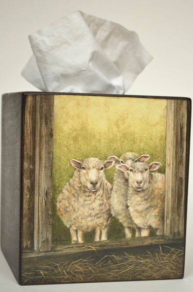 Folk Art, Handcrafted 3 Sheep Tissue Box Cover, with tissue