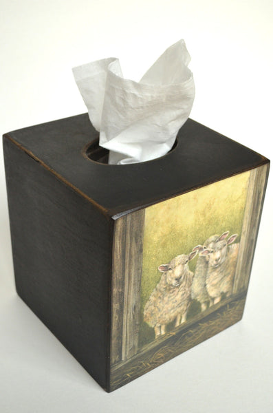 3 Sheep Tissue Box Cover, handcrafted wooden folk art with sheep, top and side view