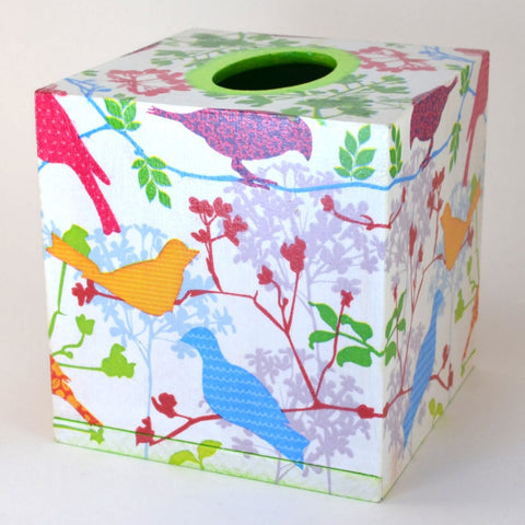 Colorful Birds Tissue Box Cover,fair trade,decoupage tissue box cover