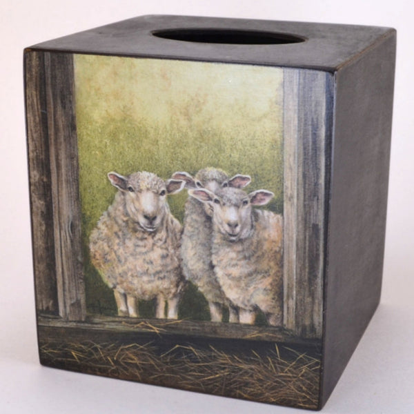 3 Folk Art Sheep Tissue Box Cover, handcrafted wood