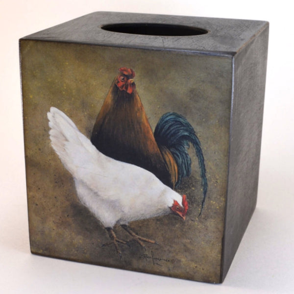 Hen and Rooster Tissue Box Cover,Wooden tissue box cover, folk art