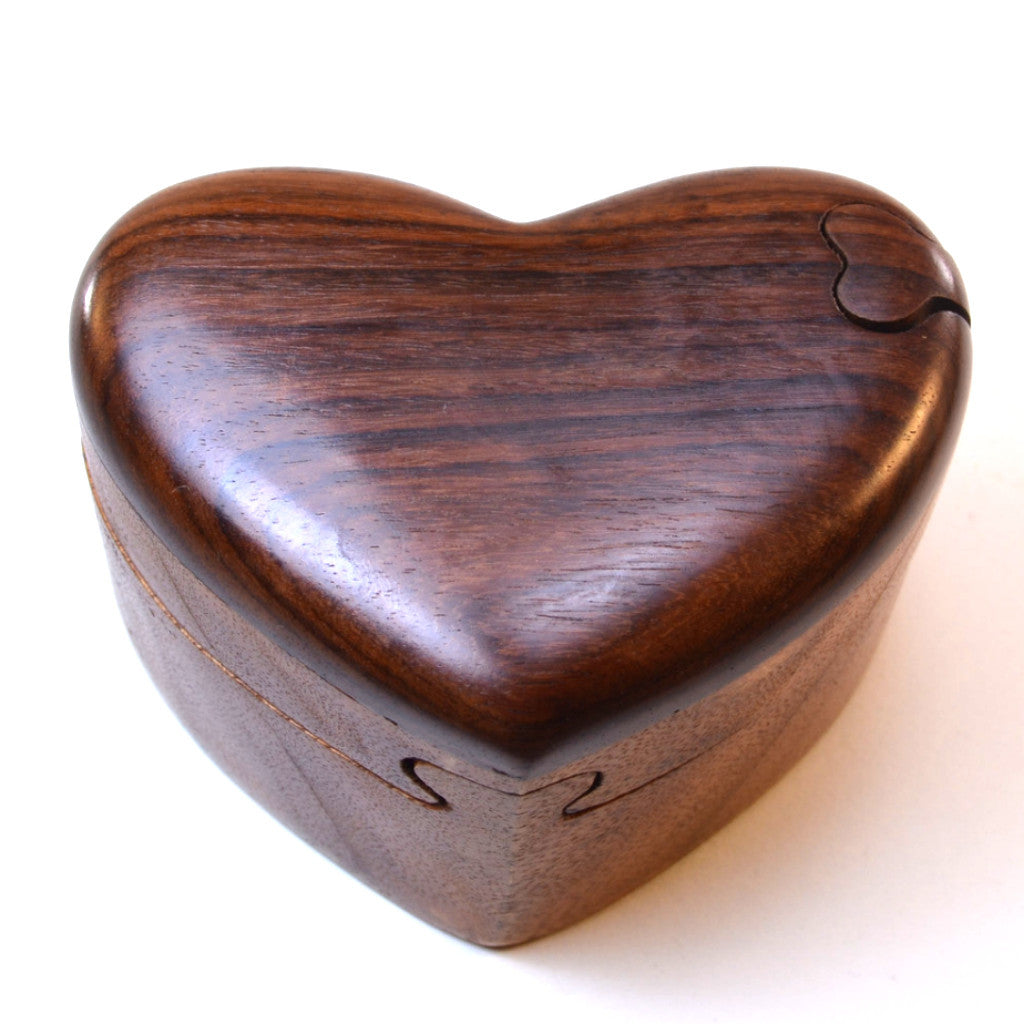 Puzzle box heart puzzle box hand carved wood dogwood for Heart ring box