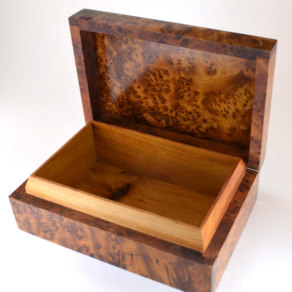 wooden box, Thuya wood box open view, unique gift for men
