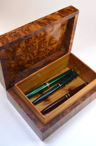 wooden box, unique gift for men, shown as box for pens